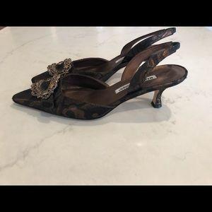 Manolo Blahnik bronze slingback heels with jewels